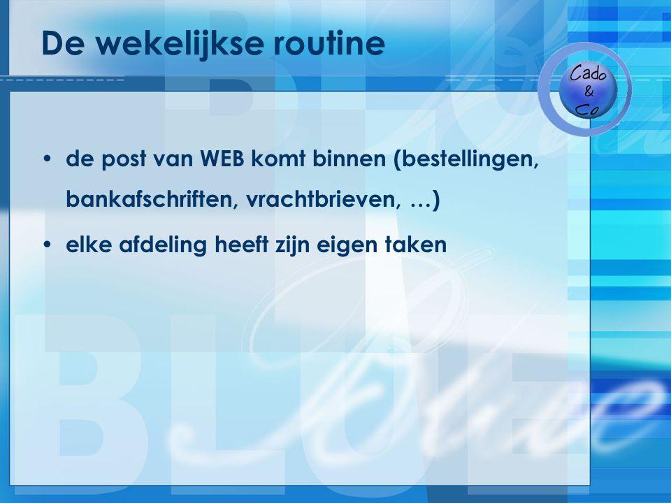 De wekelijkse routine de post van WEB komt binnen (bestellingen, bankafschriften, vrachtbrieven, …) elke afdeling heeft zijn eigen taken