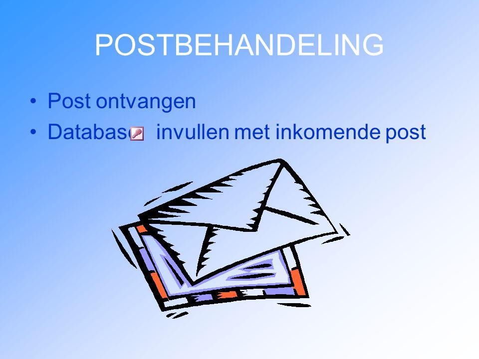 POSTBEHANDELING Post ontvangen Database invullen met inkomende post