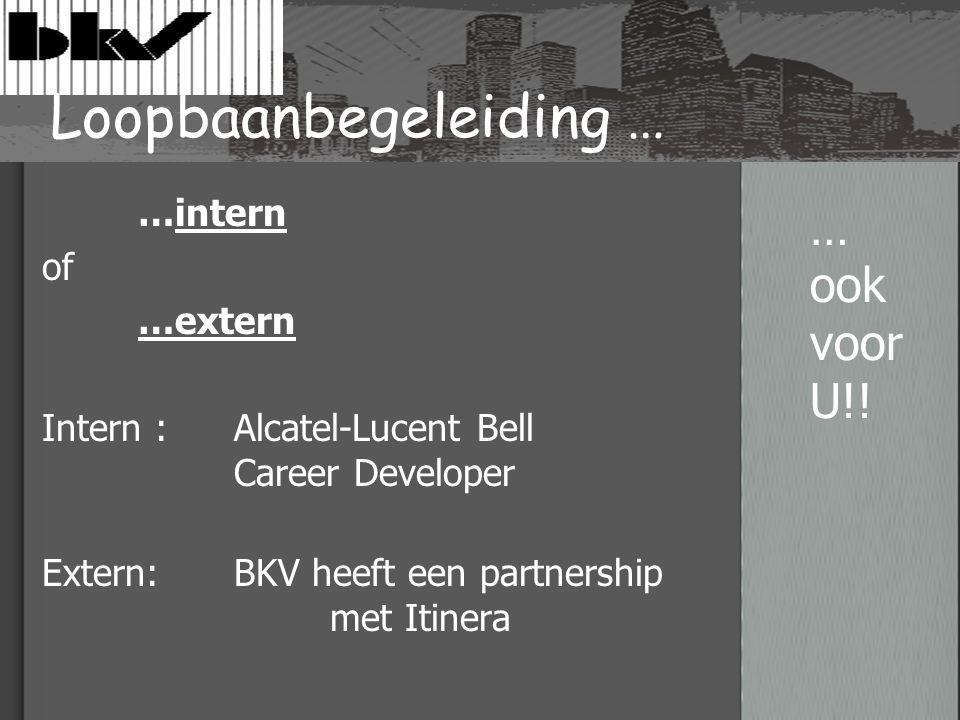 Loopbaanbegeleiding … …intern of …extern Intern : Alcatel-Lucent Bell Career Developer Extern: BKV heeft een partnership met Itinera … ook voor U!!