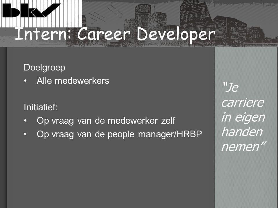 Intern: Career Developer Doelgroep Alle medewerkers Initiatief: Op vraag van de medewerker zelf Op vraag van de people manager/HRBP Je carriere in eigen handen nemen
