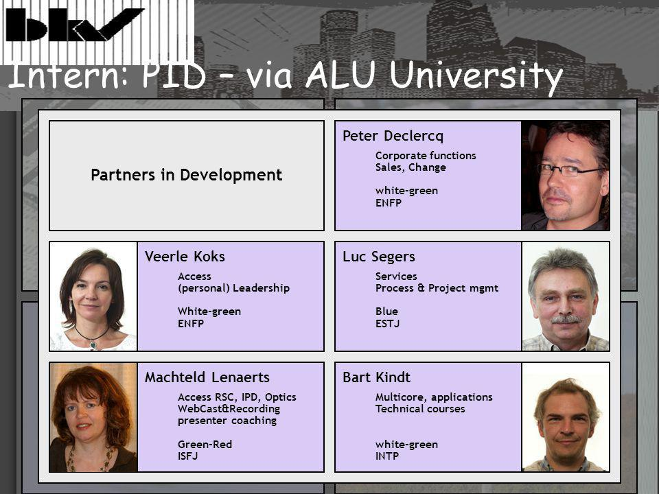 Partners in Development Veerle Koks Access (personal) Leadership White-green ENFP Machteld Lenaerts Access RSC, IPD, Optics WebCast&Recording presenter coaching Green-Red ISFJ Luc Segers Services Process & Project mgmt Blue ESTJ Bart Kindt Multicore, applications Technical courses white-green INTP Peter Declercq Corporate functions Sales, Change white-green ENFP Intern: PID – via ALU University