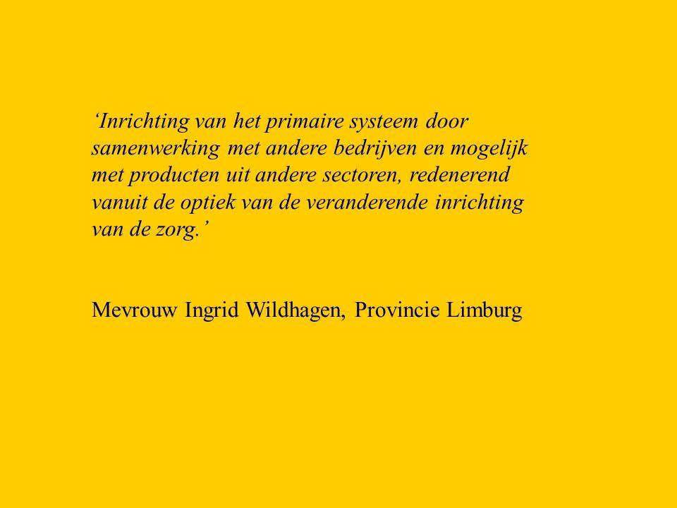 'Inrichting van het primaire systeem door samenwerking met andere bedrijven en mogelijk met producten uit andere sectoren, redenerend vanuit de optiek