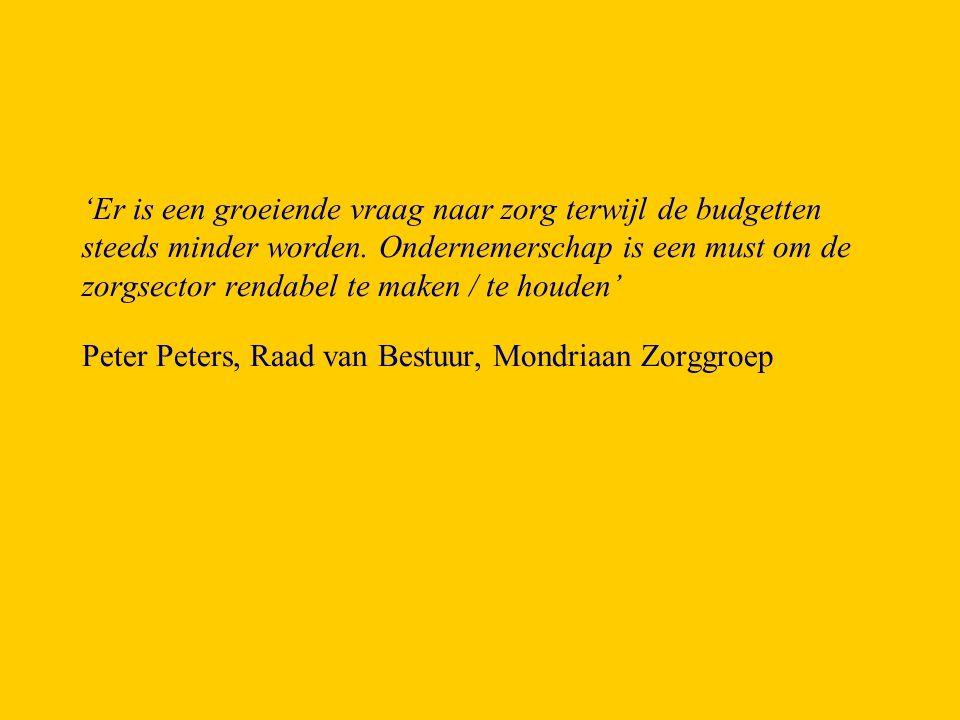 'Inrichting van het primaire systeem door samenwerking met andere bedrijven en mogelijk met producten uit andere sectoren, redenerend vanuit de optiek van de veranderende inrichting van de zorg.' Mevrouw Ingrid Wildhagen, Provincie Limburg