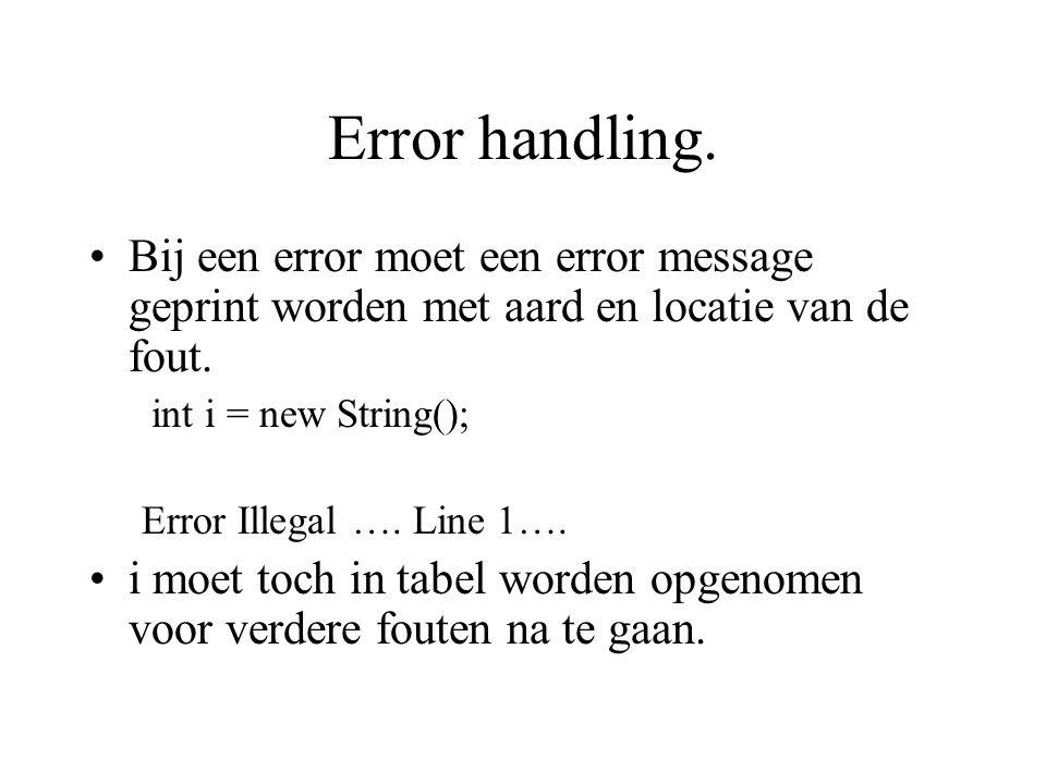 Error handling. Bij een error moet een error message geprint worden met aard en locatie van de fout. int i = new String(); Error Illegal …. Line 1…. i