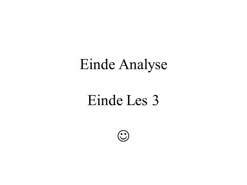 Einde Analyse Einde Les 3