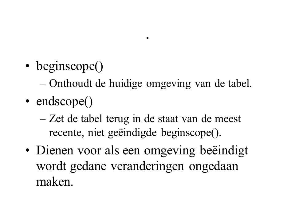 . beginscope() –Onthoudt de huidige omgeving van de tabel. endscope() –Zet de tabel terug in de staat van de meest recente, niet geëindigde beginscope