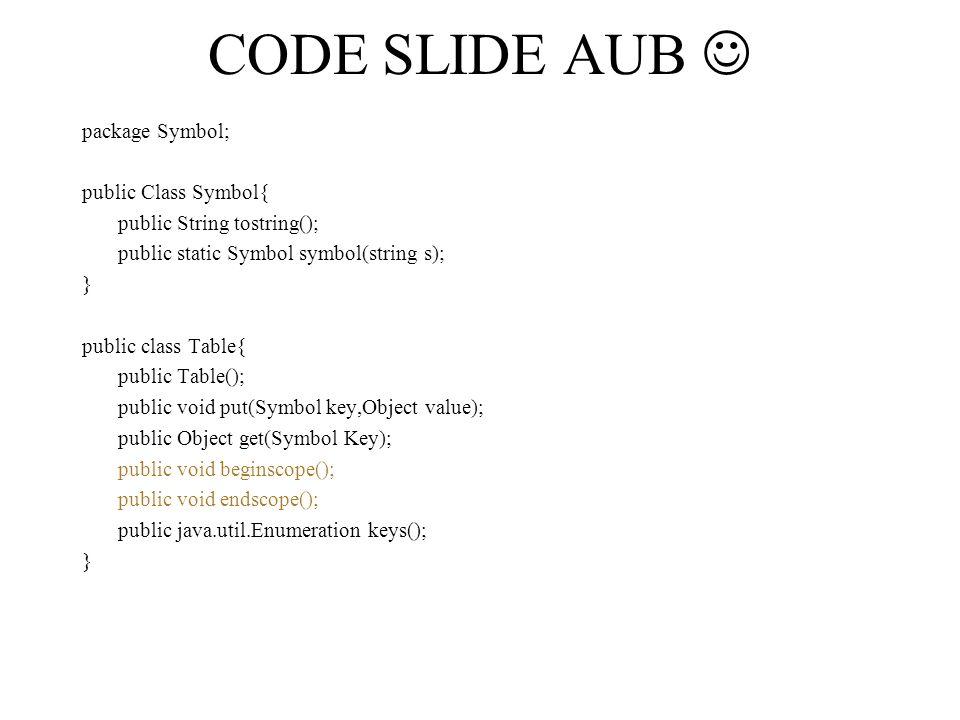 Symbool tables voor imperatieve tables X -> b toevoegen.