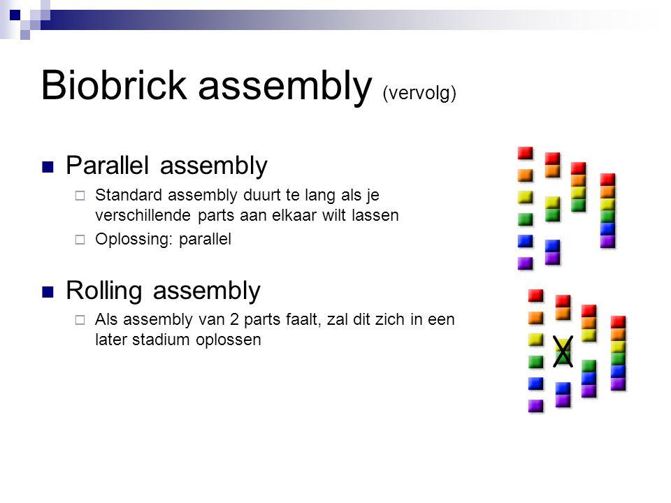 Biobrick assembly (vervolg) Parallel assembly  Standard assembly duurt te lang als je verschillende parts aan elkaar wilt lassen  Oplossing: parallel Rolling assembly  Als assembly van 2 parts faalt, zal dit zich in een later stadium oplossen