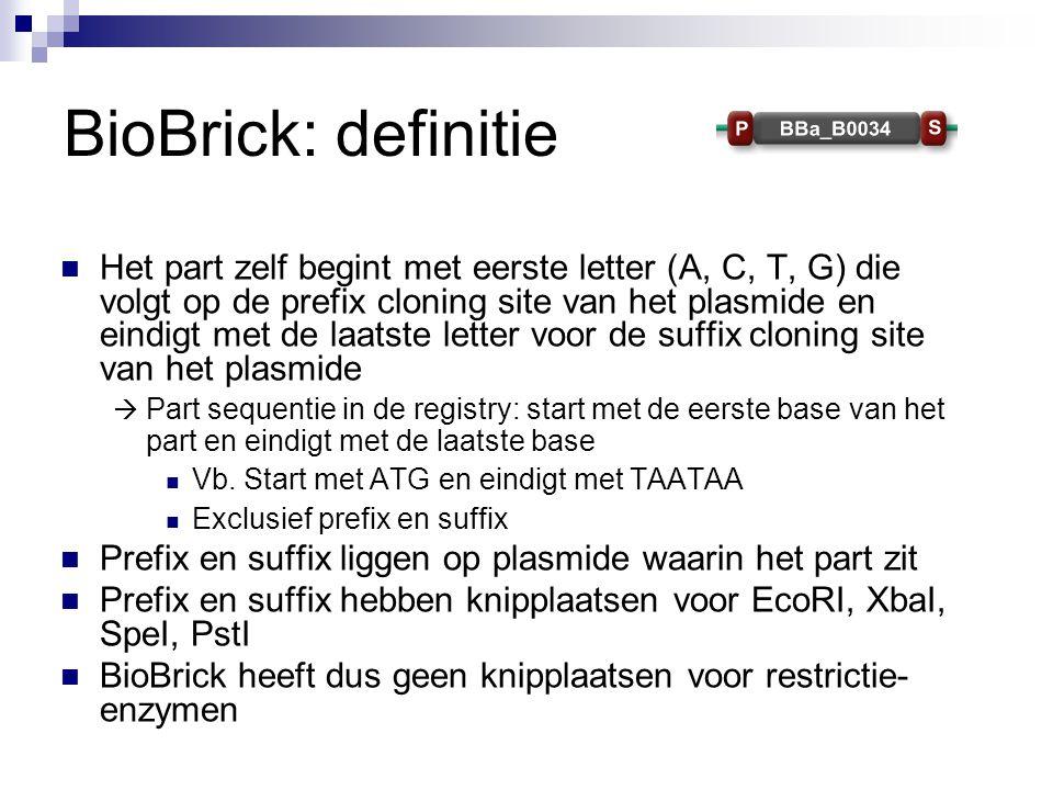 BioBrick: definitie Het part zelf begint met eerste letter (A, C, T, G) die volgt op de prefix cloning site van het plasmide en eindigt met de laatste