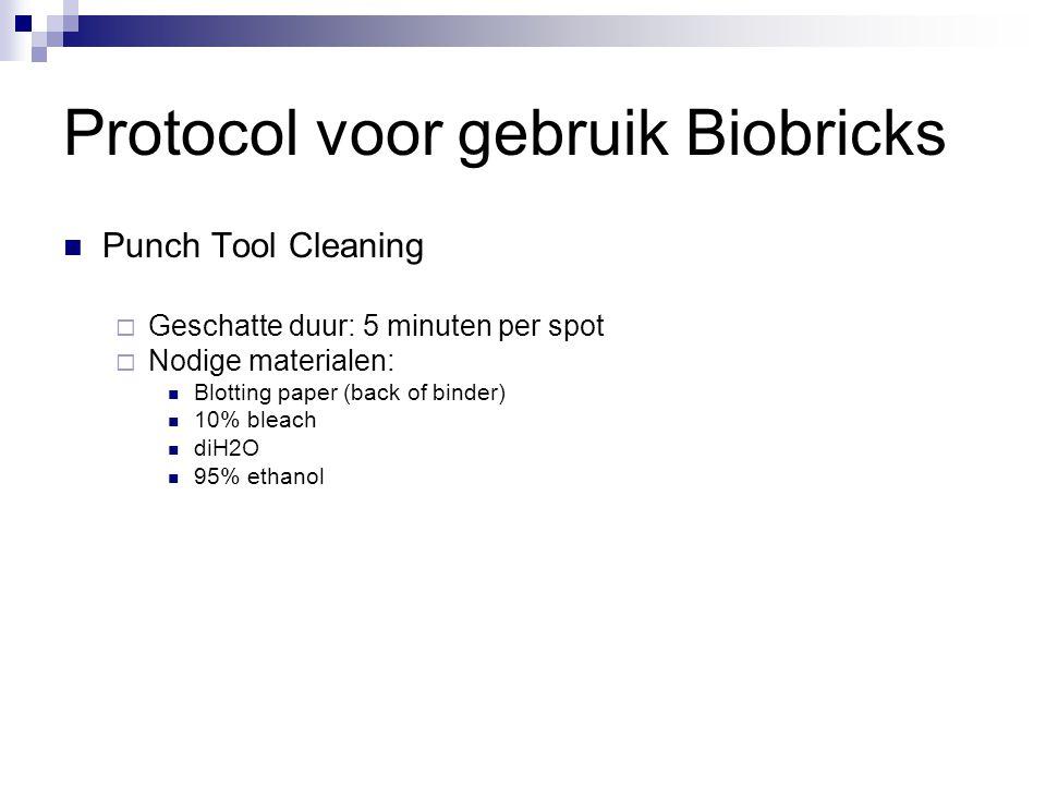 Protocol voor gebruik Biobricks Punch Tool Cleaning  Geschatte duur: 5 minuten per spot  Nodige materialen: Blotting paper (back of binder) 10% bleach diH2O 95% ethanol