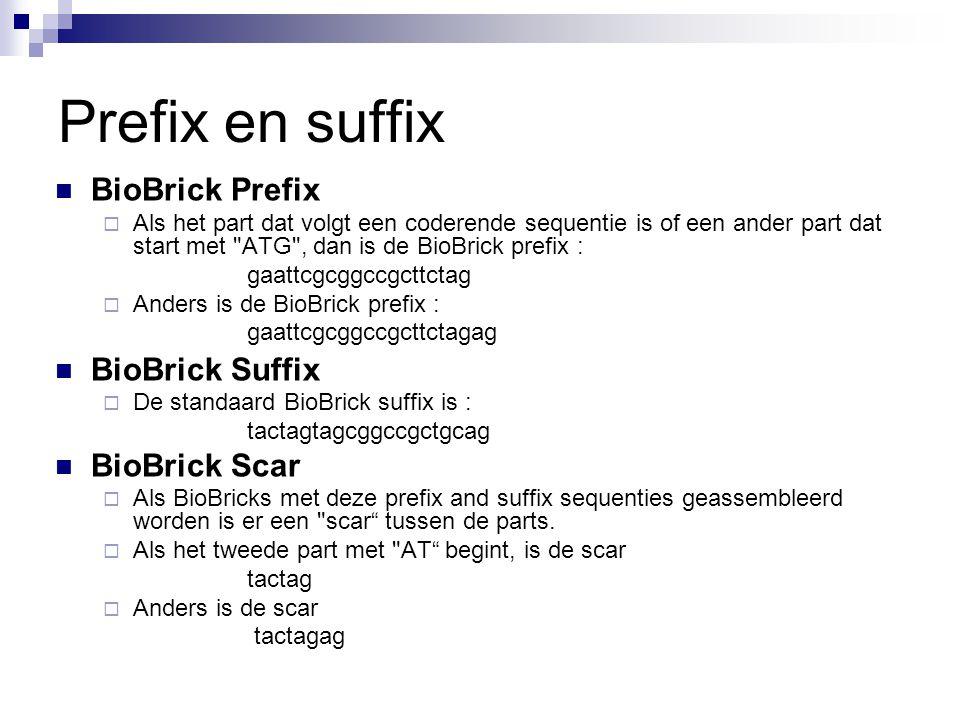 Prefix en suffix BioBrick Prefix  Als het part dat volgt een coderende sequentie is of een ander part dat start met ATG , dan is de BioBrick prefix : gaattcgcggccgcttctag  Anders is de BioBrick prefix : gaattcgcggccgcttctagag BioBrick Suffix  De standaard BioBrick suffix is : tactagtagcggccgctgcag BioBrick Scar  Als BioBricks met deze prefix and suffix sequenties geassembleerd worden is er een scar tussen de parts.