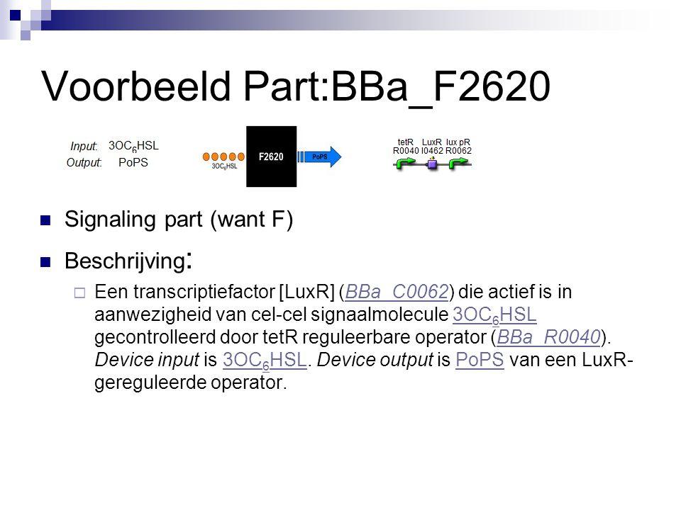 Voorbeeld Part:BBa_F2620 Signaling part (want F) Beschrijving :  Een transcriptiefactor [LuxR] (BBa_C0062) die actief is in aanwezigheid van cel-cel signaalmolecule 3OC 6 HSL gecontrolleerd door tetR reguleerbare operator (BBa_R0040).