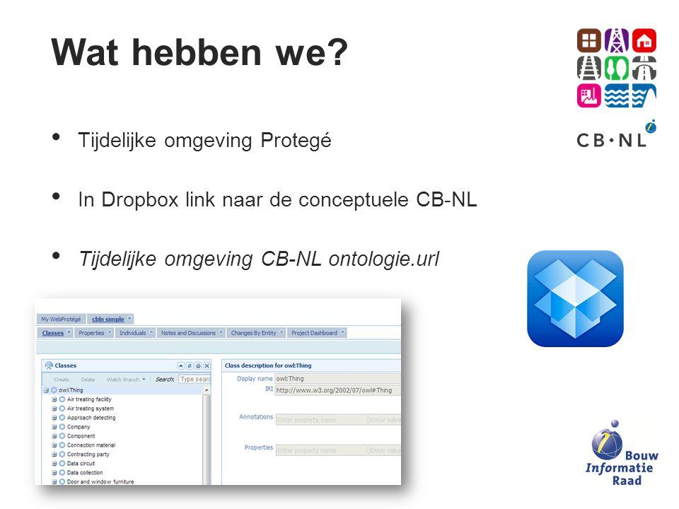 Tijdelijke omgeving Protegé In Dropbox link naar de conceptuele CB-NL Tijdelijke omgeving CB-NL ontologie.url Wat hebben we?