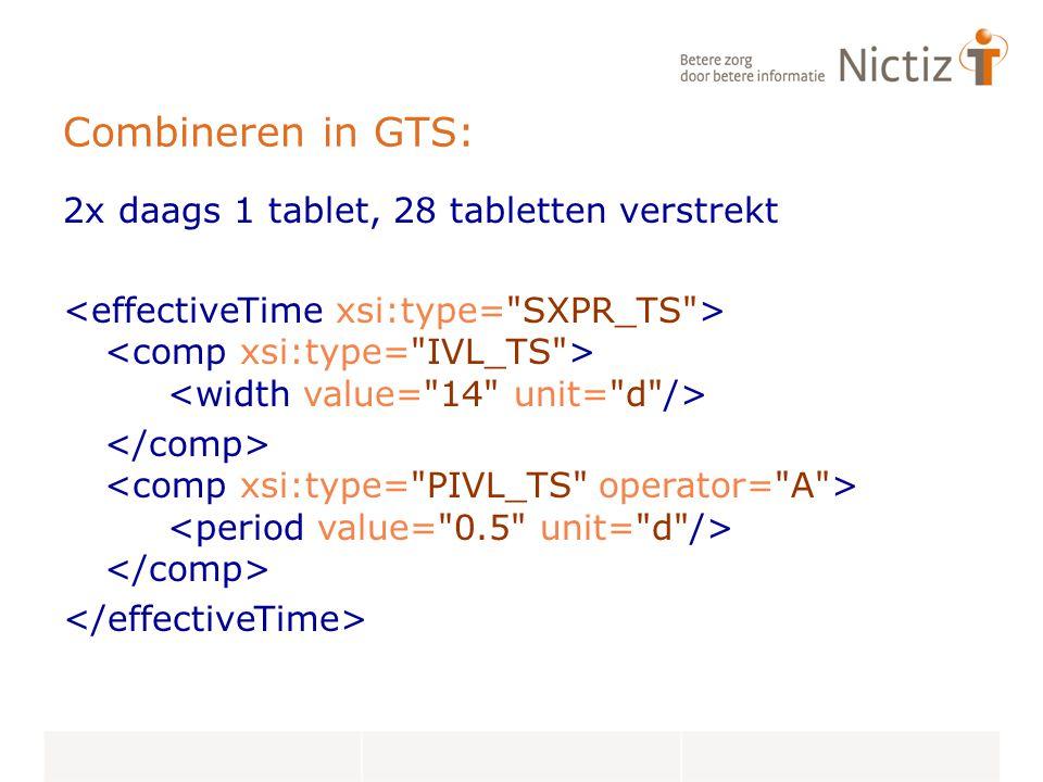 Combineren in GTS: 2x daags 1 tablet, 28 tabletten verstrekt