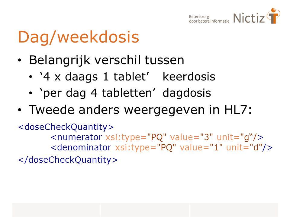 Dag/weekdosis Belangrijk verschil tussen '4 x daags 1 tablet'keerdosis 'per dag 4 tabletten'dagdosis Tweede anders weergegeven in HL7: