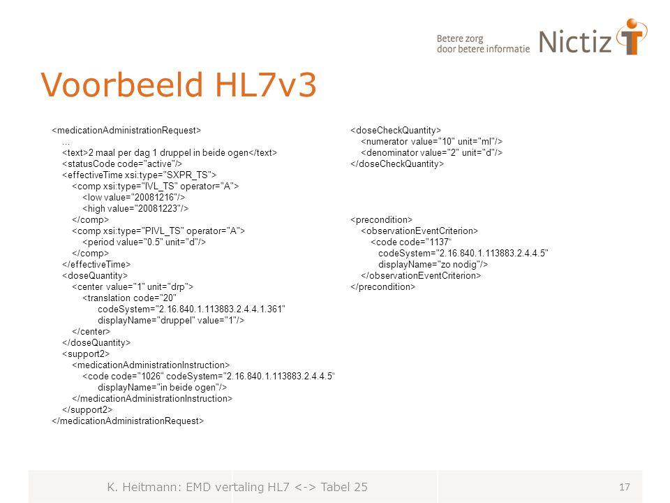 Voorbeeld HL7v3 K.Heitmann: EMD vertaling HL7 Tabel 25 17...