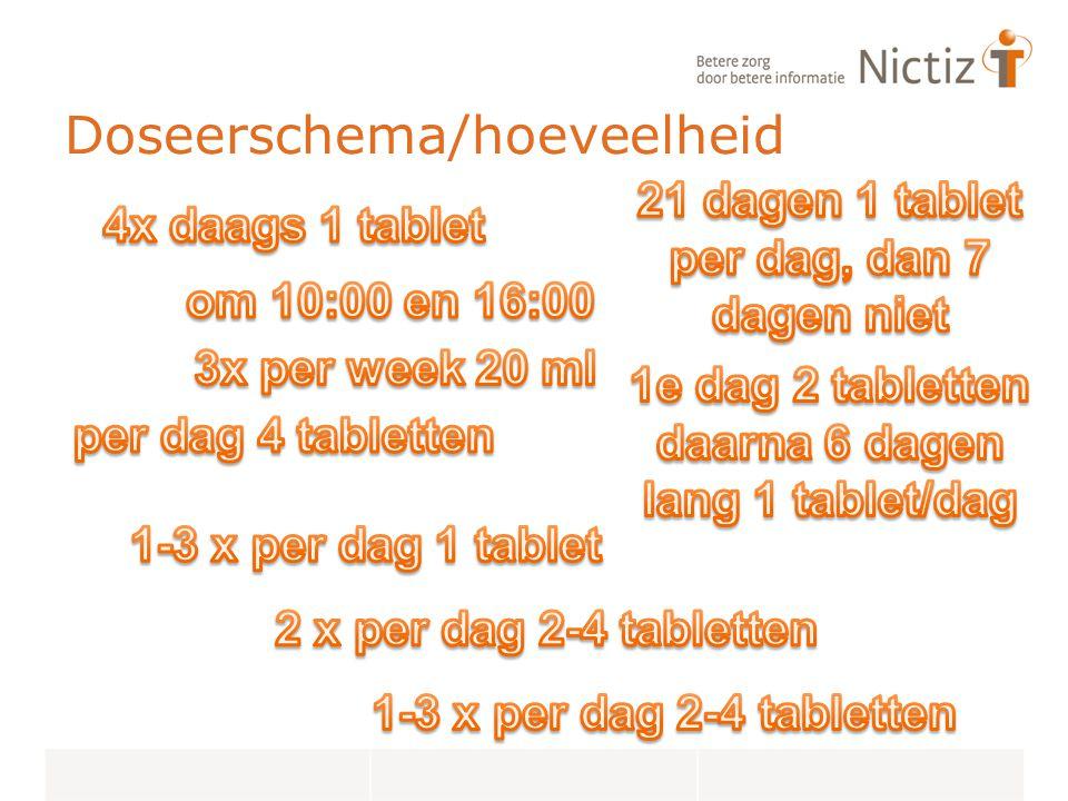 Doseerschema/hoeveelheid