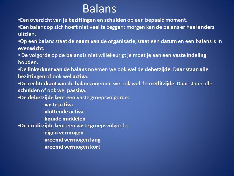 Balans Een overzicht van je bezittingen en schulden op een bepaald moment. Een balans op zich hoeft niet veel te zeggen; morgen kan de balans er heel