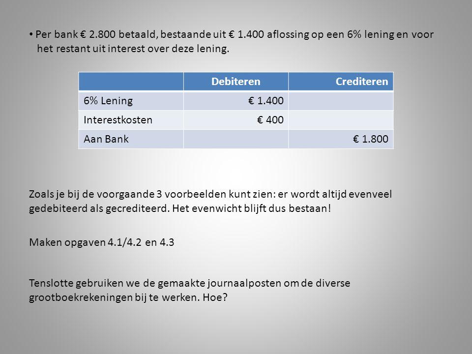 Per bank € 2.800 betaald, bestaande uit € 1.400 aflossing op een 6% lening en voor het restant uit interest over deze lening. DebiterenCrediteren 6% L