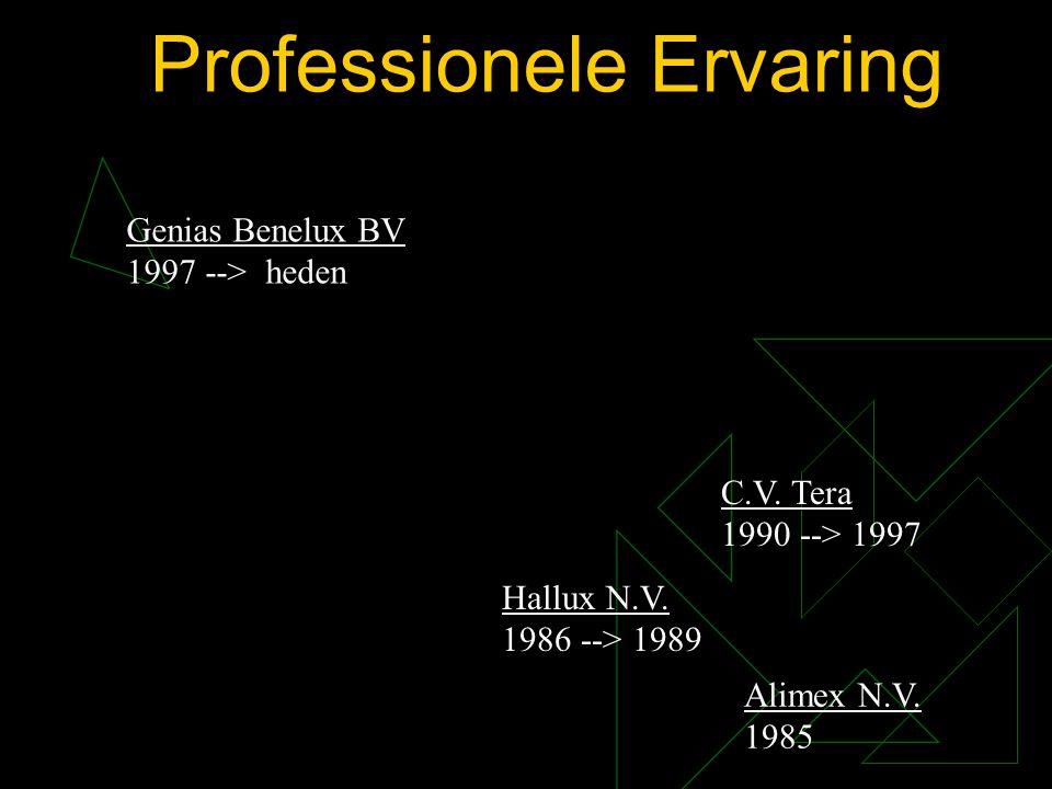 Professionele Ervaring Genias Benelux BV 1997 --> heden Alimex N.V. 1985 Hallux N.V. 1986 --> 1989 C.V. Tera 1990 --> 1997