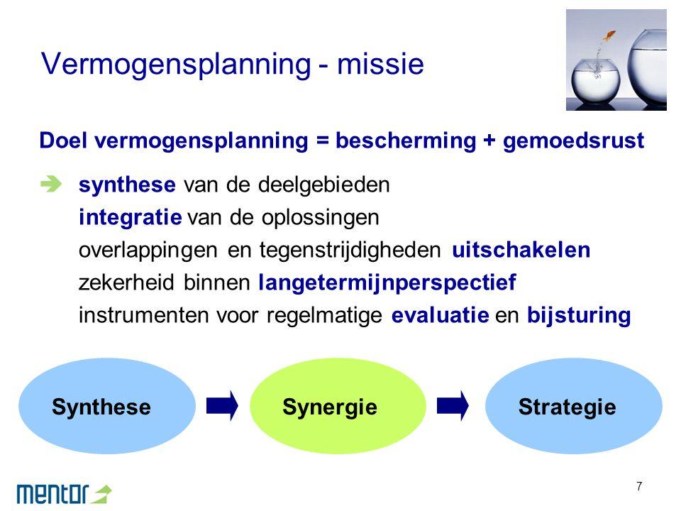 7 Vermogensplanning - missie Doel vermogensplanning = bescherming + gemoedsrust  synthese van de deelgebieden integratie van de oplossingen overlappi