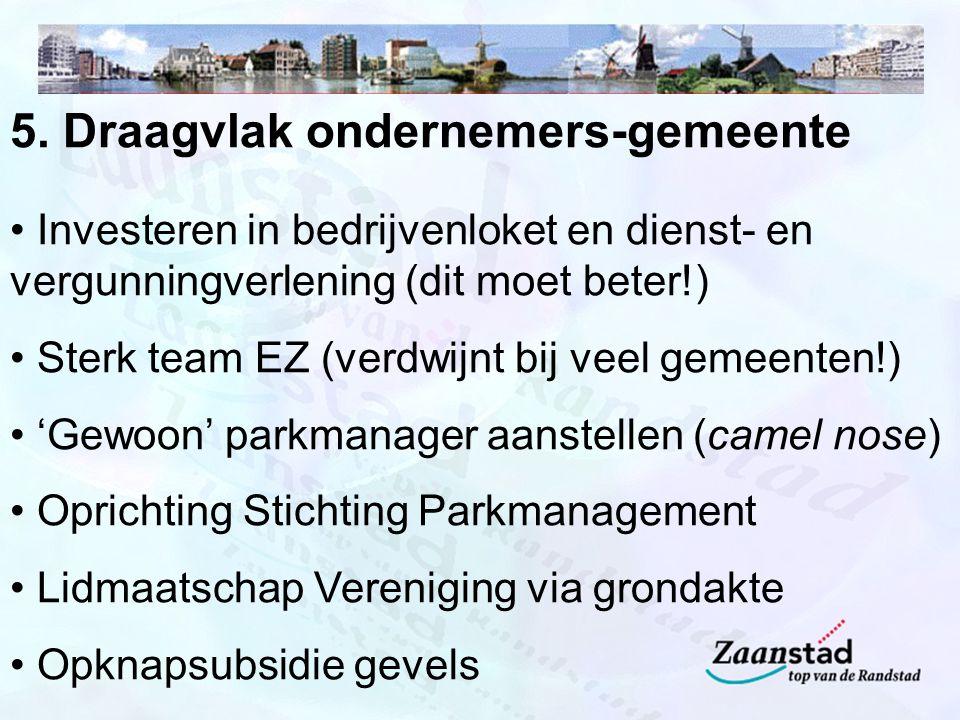 5. Draagvlak ondernemers-gemeente Investeren in bedrijvenloket en dienst- en vergunningverlening (dit moet beter!) Sterk team EZ (verdwijnt bij veel g