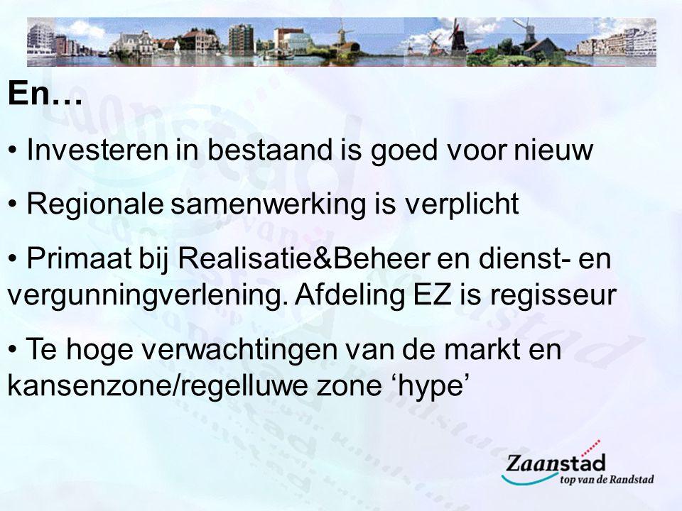 En… Investeren in bestaand is goed voor nieuw Regionale samenwerking is verplicht Primaat bij Realisatie&Beheer en dienst- en vergunningverlening.