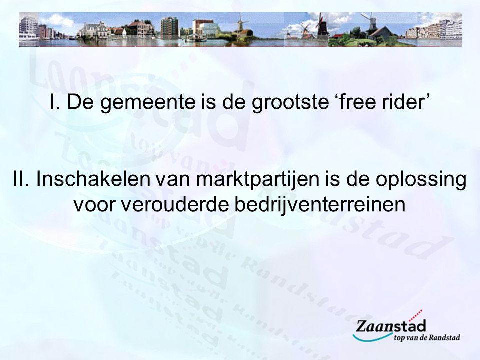 I. De gemeente is de grootste 'free rider' II.