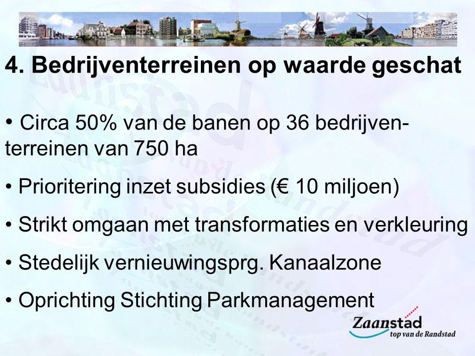 4. Bedrijventerreinen op waarde geschat Circa 50% van de banen op 36 bedrijven- terreinen van 750 ha Prioritering inzet subsidies (€ 10 miljoen) Strik