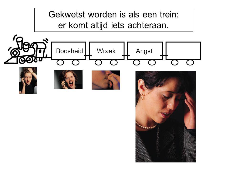 Gekwetst worden is als een trein: er komt altijd iets achteraan. BoosheidWraakAngst