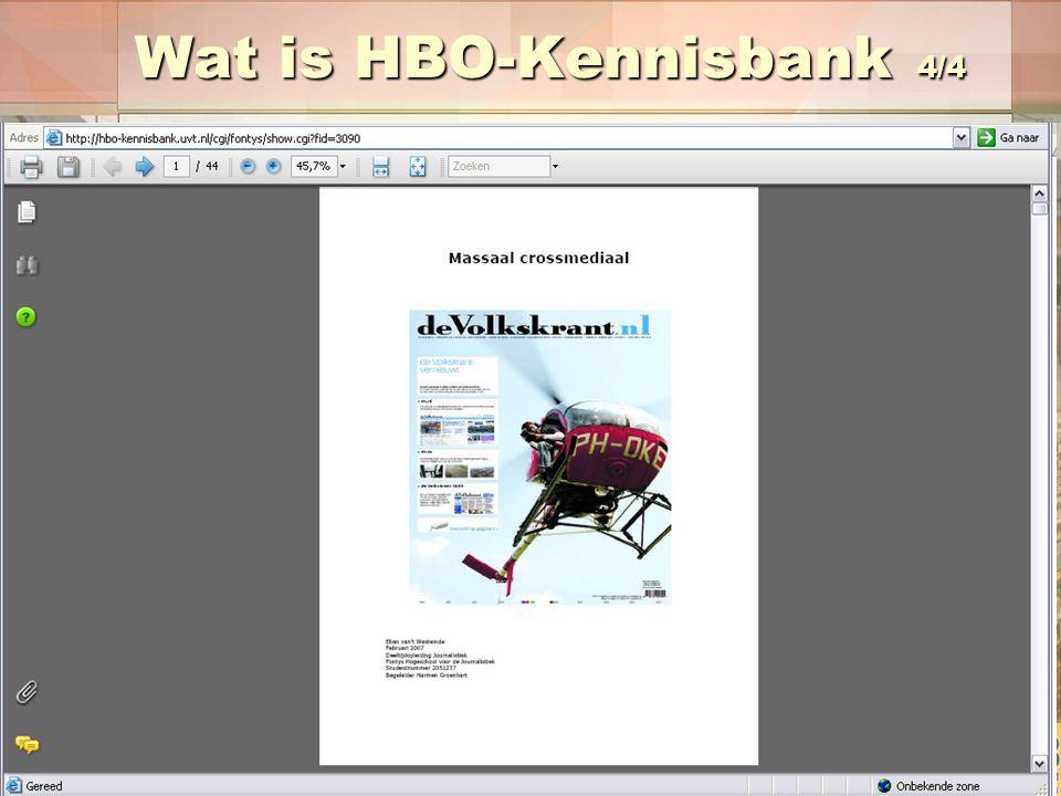 Wat is HBO-Kennisbank 4/4