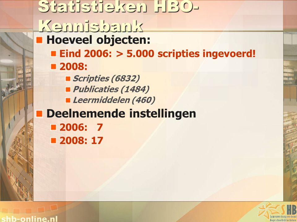 Statistieken HBO- Kennisbank Hoeveel objecten: Eind 2006: > 5.000 scripties ingevoerd! 2008: Scripties (6832) Publicaties (1484) Leermiddelen (460) De