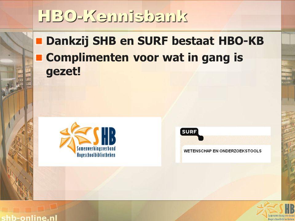HBO-Kennisbank Dankzij SHB en SURF bestaat HBO-KB Complimenten voor wat in gang is gezet!