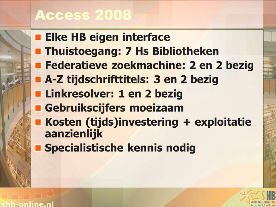 Access 2008 Elke HB eigen interface Thuistoegang: 7 Hs Bibliotheken Federatieve zoekmachine: 2 en 2 bezig A-Z tijdschrifttitels: 3 en 2 bezig Linkresolver: 1 en 2 bezig Gebruikscijfers moeizaam Kosten (tijds)investering + exploitatie aanzienlijk Specialistische kennis nodig