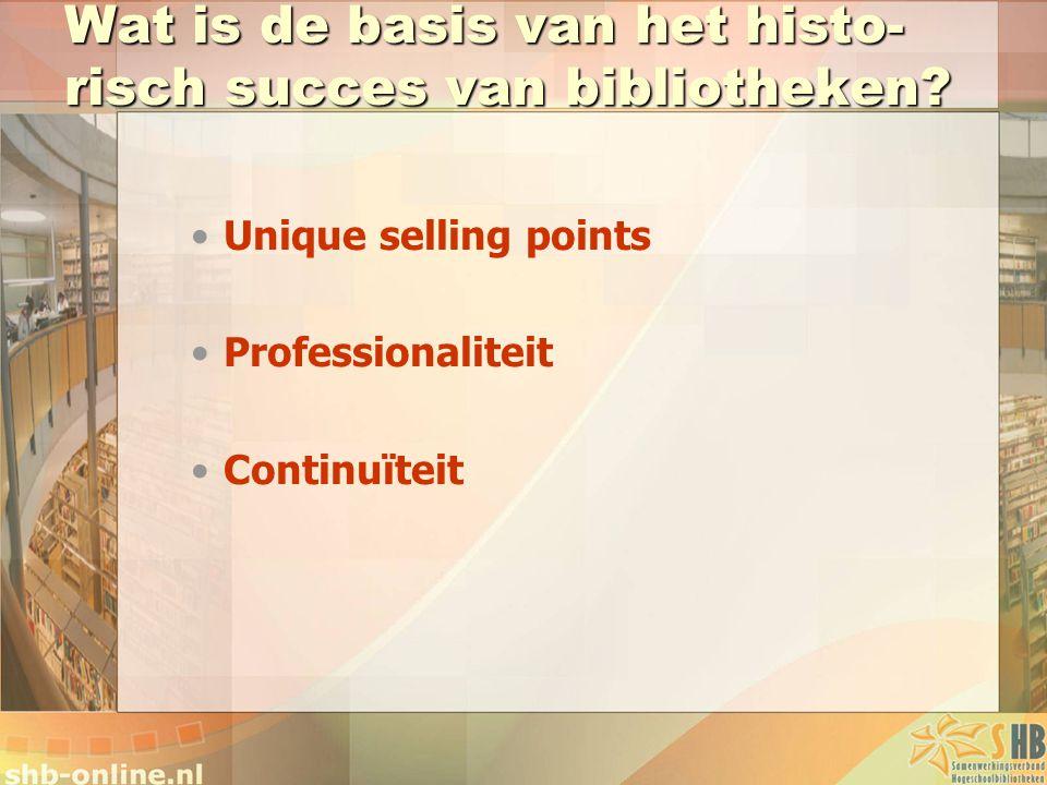 Wat is de basis van het histo- risch succes van bibliotheken? Unique selling points Professionaliteit Continuïteit