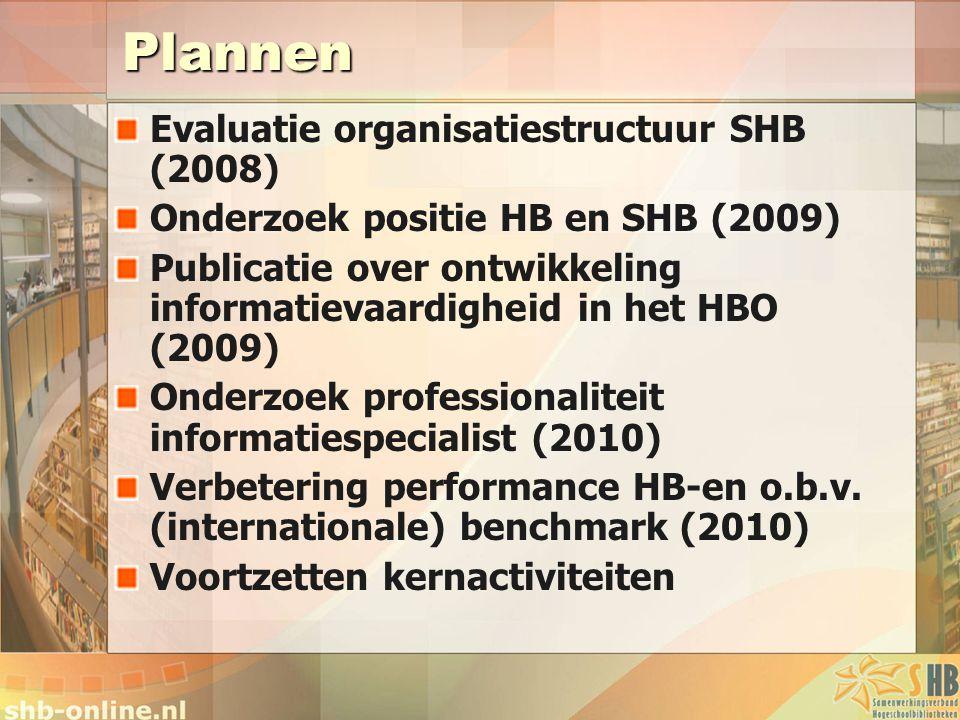 Plannen Evaluatie organisatiestructuur SHB (2008) Onderzoek positie HB en SHB (2009) Publicatie over ontwikkeling informatievaardigheid in het HBO (2009) Onderzoek professionaliteit informatiespecialist (2010) Verbetering performance HB-en o.b.v.