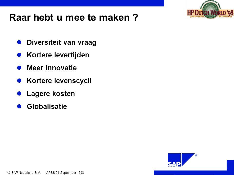 ®  SAP Nederland B.V. APSS 24 September 1998 Raar hebt u mee te maken .