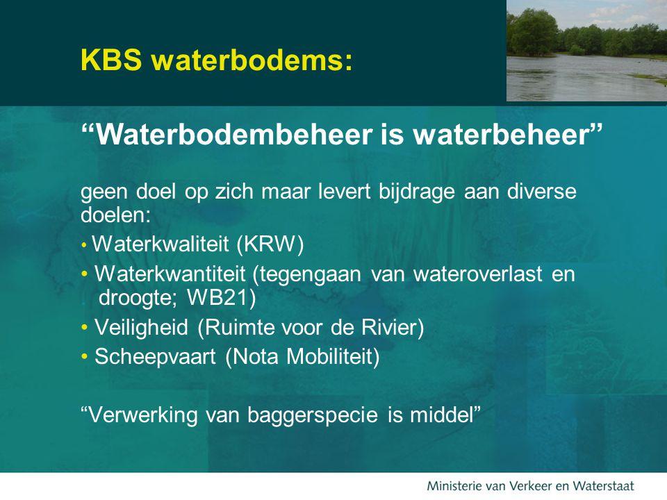 10 KBS waterbodems: Waterbodembeheer is waterbeheer geen doel op zich maar levert bijdrage aan diverse doelen: Waterkwaliteit (KRW) Waterkwantiteit (tegengaan van wateroverlast en.