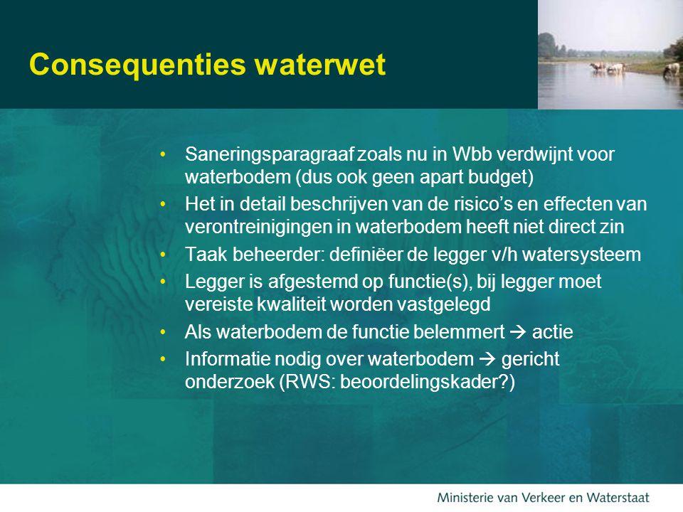 16 Consequenties waterwet Saneringsparagraaf zoals nu in Wbb verdwijnt voor waterbodem (dus ook geen apart budget) Het in detail beschrijven van de risico's en effecten van verontreinigingen in waterbodem heeft niet direct zin Taak beheerder: definiëer de legger v/h watersysteem Legger is afgestemd op functie(s), bij legger moet vereiste kwaliteit worden vastgelegd Als waterbodem de functie belemmert  actie Informatie nodig over waterbodem  gericht onderzoek (RWS: beoordelingskader?)