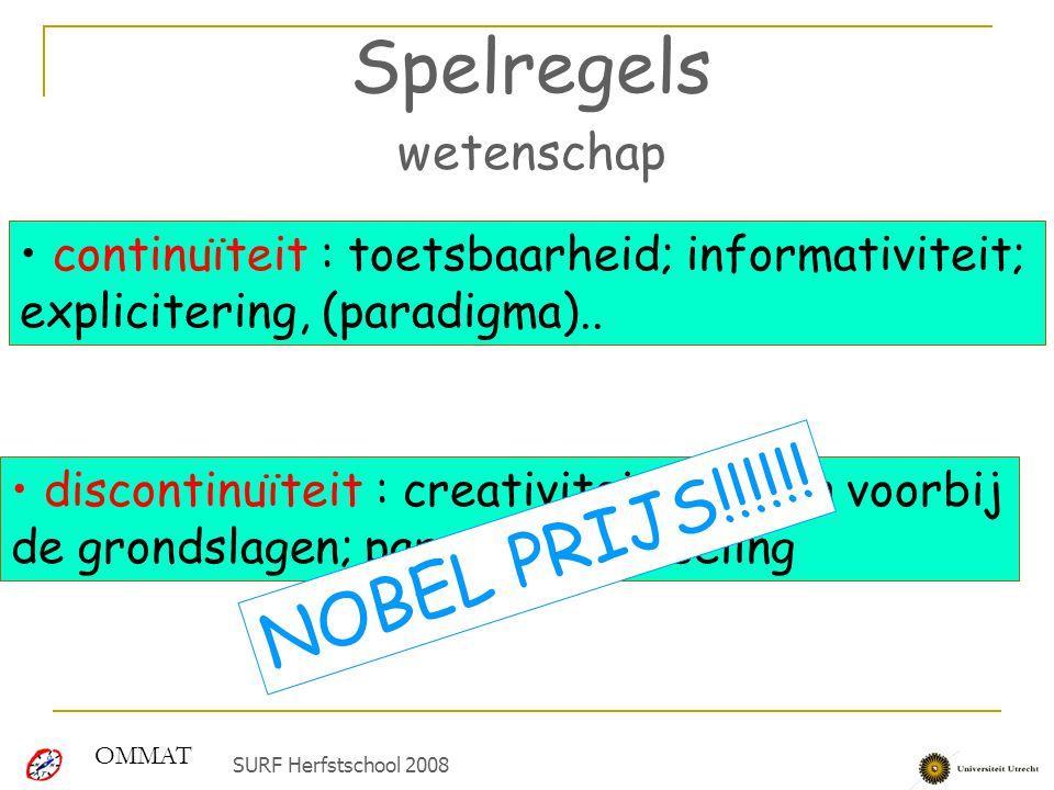 Spelregels wetenschap continuïteit : toetsbaarheid; informativiteit; explicitering, (paradigma).. discontinuïteit : creativiteit, zoeken voorbij de gr
