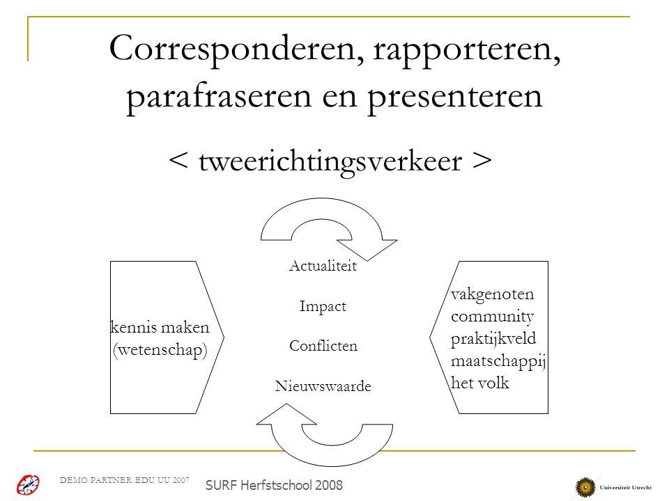 Corresponderen, rapporteren, parafraseren en presenteren DEMO PARTNER EDU UU 2007 kennis maken (wetenschap) vakgenoten community praktijkveld maatscha