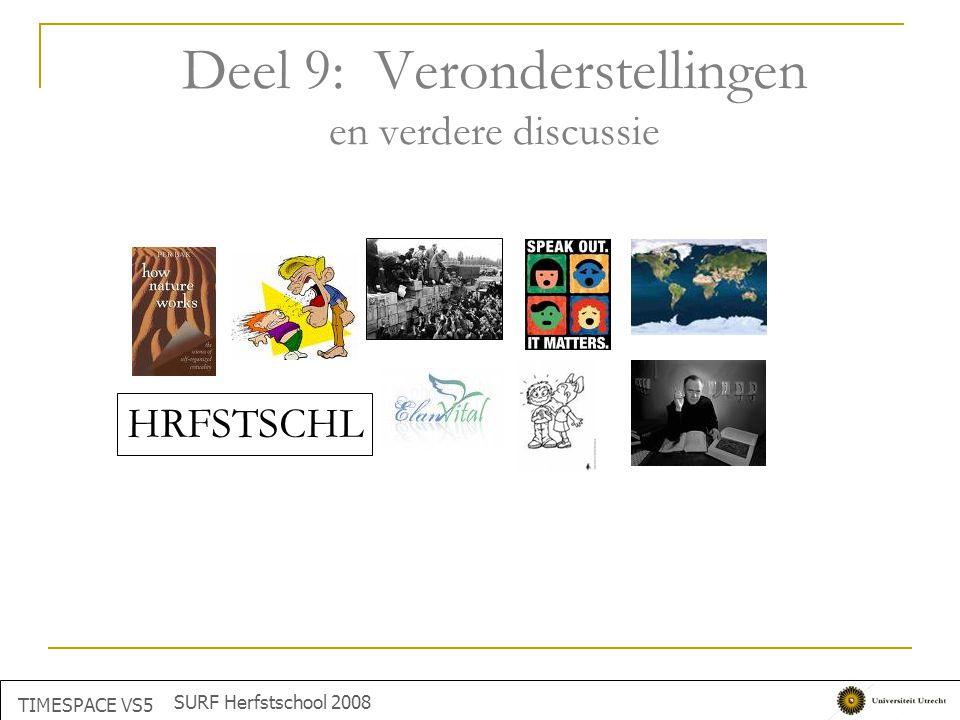 Deel 9: Veronderstellingen en verdere discussie TIMESPACE VS5 SURF Herfstschool 2008 HRFSTSCHL