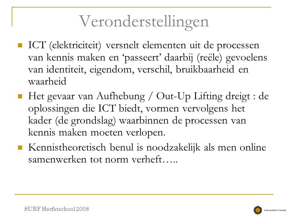 Veronderstellingen ICT (elektriciteit) versnelt elementen uit de processen van kennis maken en 'passeert' daarbij (reële) gevoelens van identiteit, ei