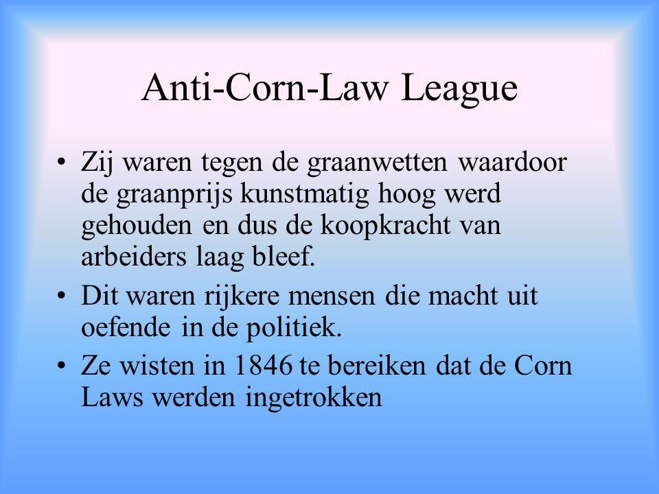 Anti-Corn-Law League Zij waren tegen de graanwetten waardoor de graanprijs kunstmatig hoog werd gehouden en dus de koopkracht van arbeiders laag bleef