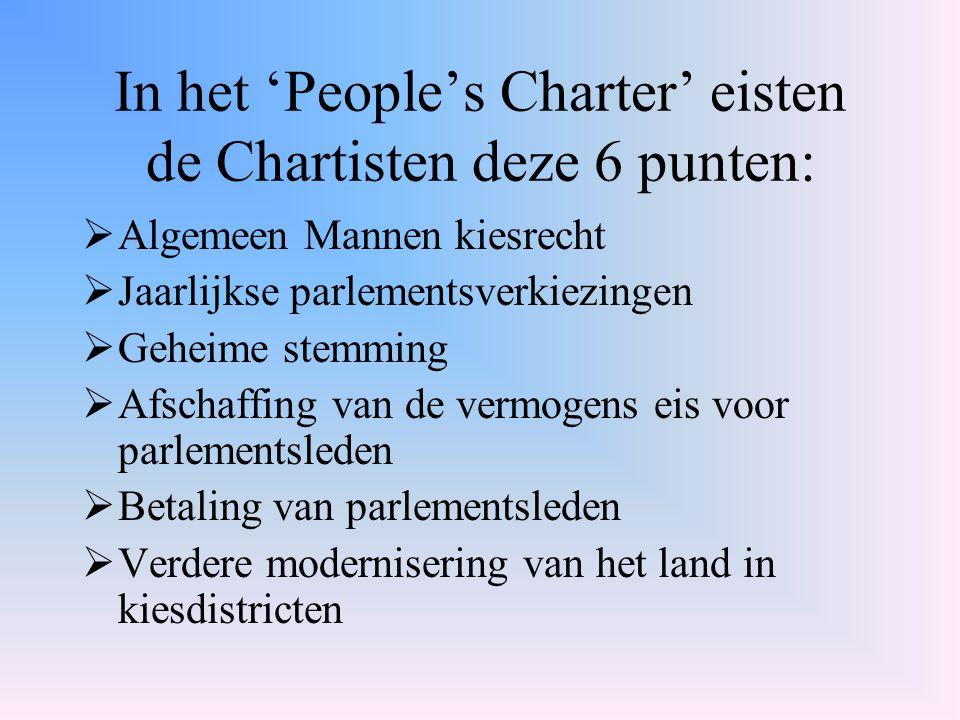 In het 'People's Charter' eisten de Chartisten deze 6 punten:  Algemeen Mannen kiesrecht  Jaarlijkse parlementsverkiezingen  Geheime stemming  Afs