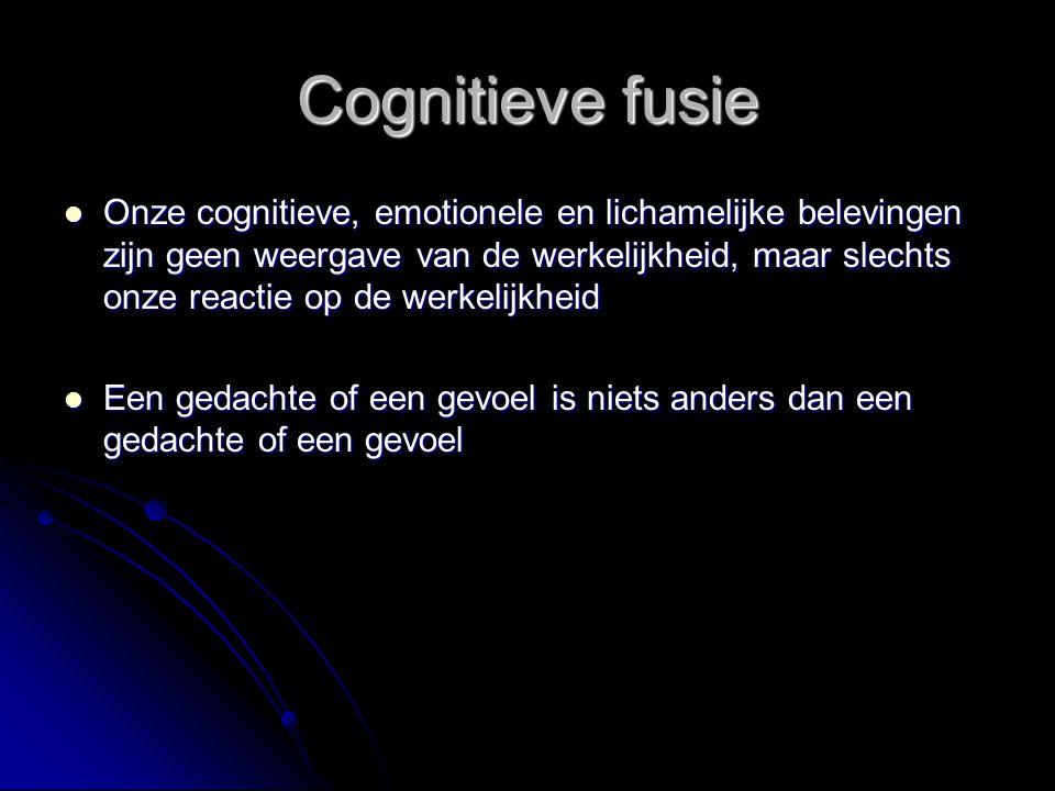 Cognitieve fusie Onze cognitieve, emotionele en lichamelijke belevingen zijn geen weergave van de werkelijkheid, maar slechts onze reactie op de werke