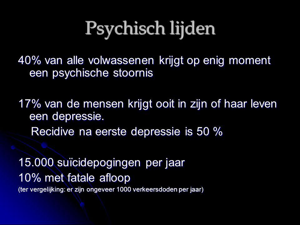 Psychisch lijden 40% van alle volwassenen krijgt op enig moment een psychische stoornis 17% van de mensen krijgt ooit in zijn of haar leven een depres
