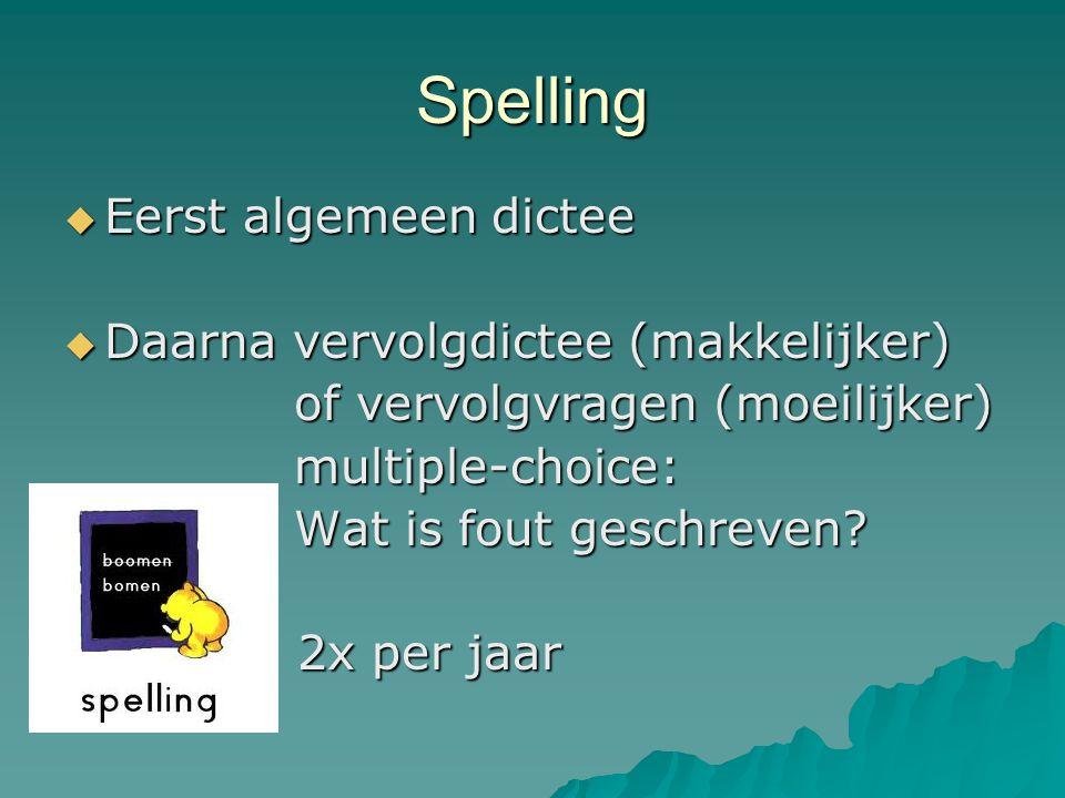 Spelling  Eerst algemeen dictee  Daarna vervolgdictee (makkelijker) of vervolgvragen (moeilijker) of vervolgvragen (moeilijker) multiple-choice: mul