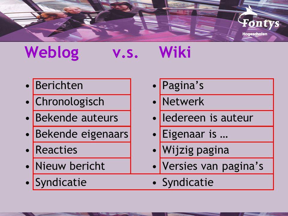 Weblog v.s. Wiki Berichten Chronologisch Bekende auteurs Bekende eigenaars Reacties Nieuw bericht Syndicatie Pagina's Netwerk Iedereen is auteur Eigen