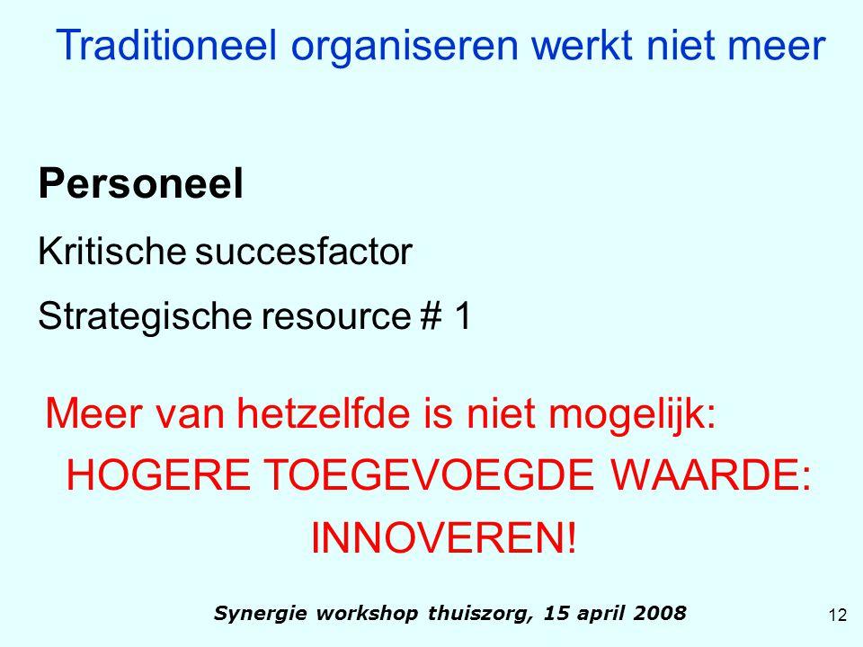 Personeel Kritische succesfactor Strategische resource # 1 Meer van hetzelfde is niet mogelijk: HOGERE TOEGEVOEGDE WAARDE: INNOVEREN! Traditioneel org